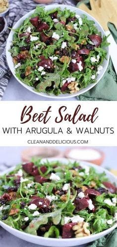 Beet salad with arugula and walnuts makes an easy, healthy, and delicious side salad or main meal. You can roast or steam the beets ahead of time or take a short cut by buying them cooked or pickled at the grocery store. Sprinkle it with goat cheese or fe Pickled Beet Salad, Beet Salad With Feta, Pickled Beets Recipe, Beet And Goat Cheese, Arugula Salad Recipes, Roasted Beet Salad, Beet Recipes, Healthy Salad Recipes, Kitchens