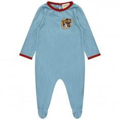 GUCCI Baby Boys Blue Cotton Jersey Babygrow