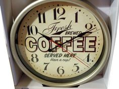 The caption on this wall clock says it all, Fresh brewed coffee served here. Have a cup . It is the perfect accent to a coffee themed kitchen and a Coffee Theme Kitchen, Kitchen Wall Clocks, Kitchen Decor Themes, Kitchen Linens, Brewing, Java, Caption, Target, Wine