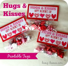 Free Printable!  Hugs and Kisses Bag Tags.  These are perfect for classroom treats for Valentine's Day and parties!