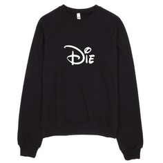 Die Cartoon Typography Raglan Sweater Made in USA ($42) ❤ liked on Polyvore featuring tops, sweaters, crew fleece sweaters, raglan sleeve sweater, crewneck sweater, raglan sweater and comic sweater