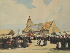 """Henri Barnoin (1882-1940), """"Le Pardon de Notre Dame de la Joie"""", litho rehaussée"""
