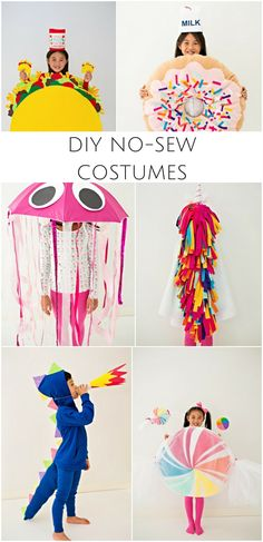 Playful DIY No-Sew Halloween Costumes for Kids. Cute Halloween costume ideas for kids that are easy to make and also fun for pretend play!