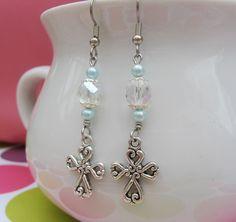 Minty Crystal Charming Cross Earrings