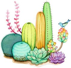 "My ""Cactus Garden"" painting is now ready! I wanted to finish it before Thursday … - Kaktus Cactus Drawing, Cactus Painting, Cactus Art, Garden Painting, Cactus Flower, Watercolor Cactus, Succulents Painting, Flower Bookey, Cactus Doodle"