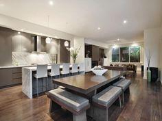 Modern dining room idea with hardwood & bar/wine bar - Dining Room Photo 317908