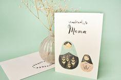 Klappkarte + Umschlag Wundervollste Mama von bär von pappe auf DaWanda.com Muttertag, Mothers Day Card