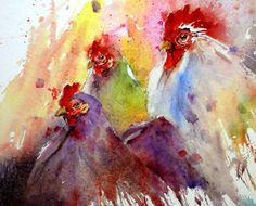 I'm not that fond of watercolour art usually, but this takes my fancy...x...Gerard Hendriks chickens