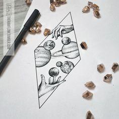 Space galaxy astronomy dotwork tattoo design