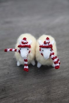 Sewn Felt Sheep with Needle Felted Coats, and of course, matching hats and scarves!