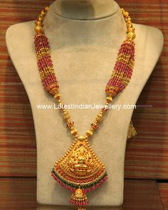 Ruby Beads Temple Necklace
