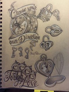 Heart locket, compass, brass knuckles tattoo flash