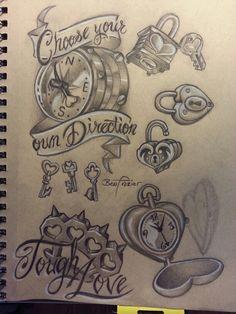 Heart locket, compass, brass knuckles tattoo flash