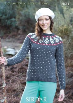 Sirdar Country Style DK Women's Nordic-Style Sweater Knitting Pattern 9614 - I Crochet World Festive Jumpers, Xmas Jumpers, Knitted Christmas Jumpers, Christmas Knitting, Nordic Christmas, Christmas Crafts, Christmas Ideas, Womens Christmas Jumper, Christmas Tree Sweater