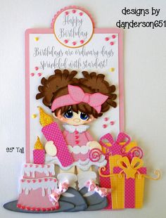 Assembled using the FreeForm Builder. Girl with Cupcake & Number Candle. Paper Art, Paper Crafts, Birthday Clipart, Die Cut Paper, Scrapbook Titles, Birthday Scrapbook, Girl Birthday, Happy Birthday, Scrapbook Embellishments