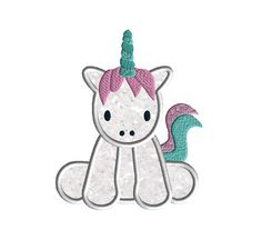 Baby Unicorn Applique Machine Embroidery Design-INSTAND DOWNLOAD