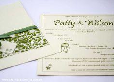 convite de casamento floral em tons de verde. modelo PW - Galeria de Convites