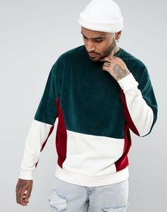 ASOS Oversized Velour Cut & Sew Sweatshirt In Green