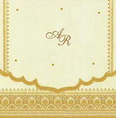 Interfaith Wedding Cards MF2084-In  High quality tissue paper exquisitely die-cut at the flaps has a gold foil. Bottom flap has paisley pattern print, with Square Card Orientation.
