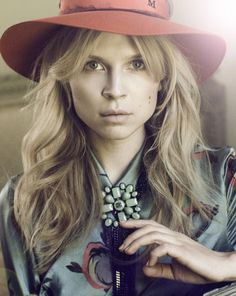 Clemence Poesy - love this look hair - hat etc