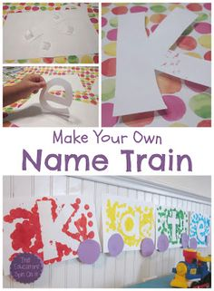 Create a Name Train to teach children to recognize letters in their name or of the alphabet. Fun Activity for Freight Train by Donald Crews