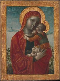Vincenzo Foppa (1456-1515/16 ). Madonna and Child, ca. 1480, Tempera, oil, and gold on wood, 17 1/4 x 12 5/8 in. (43.8 x 32.1 cm). The Metropolitan Museum of Art .