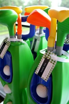 Fun favors at a Golf Party.  See more party ideas at CatchMyParty.com.  #golfpartyideas