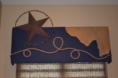Cornice board covered with denim fabric, and accented with leather hide, rope and a rustic metal star. Drop Cloth Curtains, Window Curtains, Gypsy Curtains, Vintage Furniture, Furniture Design, Regency Furniture, Plywood Furniture, Chair Design, Furniture Ideas