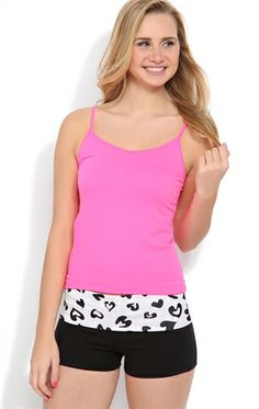 Yoga Short With Cheetah Heart Print Fold Over Waistband cute for working out in summertime! ♥
