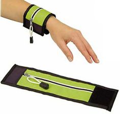 Wrist Wallet for party, picnic or walking, jogging. Is big enough for a key or two and some money. Perfect for those times when you don't want to take your purse and need your hands free. But you don't have to wear it. Wrap it around your water bottle, beer bottle, soda can with the zipper on the inside so it looks like a can cozy.