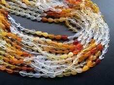 Fire Opal Beads Mexican Fire Opal Plain Straight by gemsforjewels