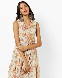 Check out Sleeveless Floral Print A-line Kurta with Embroidery on AJIO! A Line Kurta, Off White, Floral Prints, Beige, Embroidery, Check, Shopping, Dresses, Women