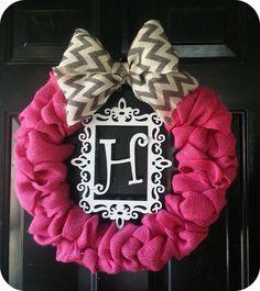 D.I.Y Valentine wreath. Pink burlap wreath. Monogram wreath. Chevron bow.