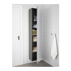 "GODMORGON High cabinet with mirror door, high gloss gray - 15 3/4x11 3/4x75 5/8 "" - IKEA"