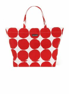 Marimekko Pienet Kivet Opaali Red and White Bag: Made of cotton canvas with a magnetic closure and inner pocket. My two loves red and polka dots! My Funny Valentine, Marimekko Bag, Best Handbags, Summer Bags, Crate And Barrel, Favorite Color, Purses And Bags, Red And White, Polka Dots