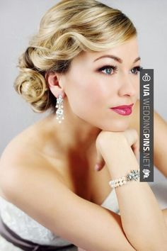 Wedding hairstyle - Old Hollywood Glamour | CHECK OUT MORE GREAT WEDDING HAIRSTYLES AND WEDDING HAIRSTYLE PHOTOS AT WEDDINGPINS.NET | #weddings #hair #weddinghair #weddinghairstyles #hairstyles #events #forweddings #iloveweddings #romance #beauty #planners #fashion #weddingphotos #weddingpictures