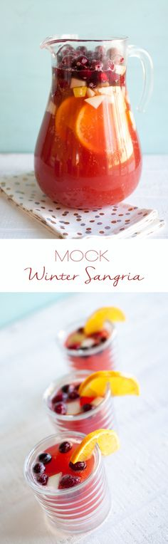 Nadire Atas on Winter Sangria Mock Winter Sangria Easy Drink Recipes, Sangria Recipes, Drinks Alcohol Recipes, Punch Recipes, Homemade Sangria Recipe Easy, Margarita Recipes, Cocktail Recipes, Free Recipes, Winter Sangria