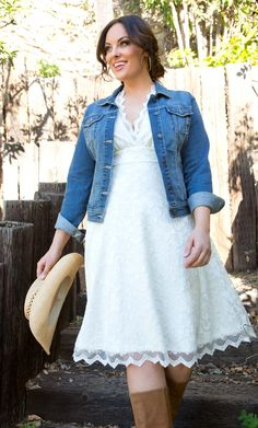 Country outfit - white dress, cowboy hat, cowboy boots, jean jacket