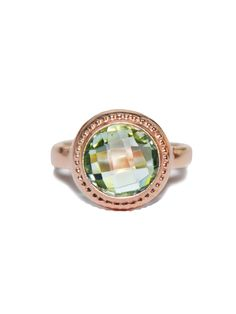 Anzie - Classique Collection - Byzantine Bezel Round Ring - Green Amethyst
