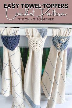 Crochet Dish Towels, Crochet Towel Topper, Crochet Kitchen Towels, Kitchen Towels Hanging, Crochet Towel Holders, Kitchen Towels Crafts, Kitchen Decor, Kitchen Modern, Crochet Home