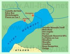 Туристическая карта озера Маджоре с отелями