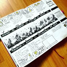 metro_boulot_bujo The week in altitude has been translated into reality by an icy cold! I really liked this clear and open layout. I think to do it again soon because it leaves large empty places to draw (but why not for daily menus or daily trackers).
