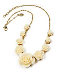 This Gold & Ivory Tea Rose Necklace by Amrita Singh is perfect! #zulilyfinds