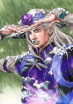 Gyro Zeppeli (ジャイロ・ツェペリ Jairo Tseperi), born Julius Caesar Zeppeli, is, alongside Johnny Joestar, the main protagonist of Part VII: Steel Ball Run. Gyro is a master of the Spin, applied with his Steel Balls, developed in the service of the King of Naples. He joins the Steel Ball Run race to win amnesty for a child he is assigned to execute.