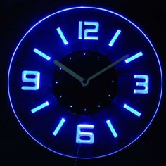 cnc2001-b Round Numerals Illuminated Wall Neon Clock Sign LED Night Light