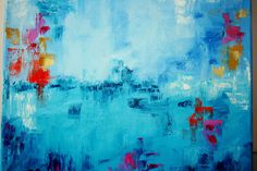 """Original Abstract Oil Painting 16x12"""", blue.  via Etsy."""
