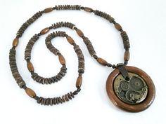 Collane da uomo - Collana di cocco e pelle da uomo - CN02 - un prodotto unico di No-Limits su DaWanda