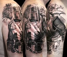 Dark Knight Templar tattoo by Miguel Angel Best Sleeve Tattoos, Cover Up Tattoos, Body Art Tattoos, Templar Knight Tattoo, Panzer Tattoo, Historical Tattoos, Masonic Tattoos, Medieval Tattoo, Crusader Knight