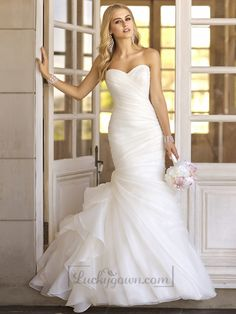 Trumpet Asymmetrical Pleated Bodice Sweetheart Vintage Wedding Dresses