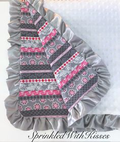 Pink and grey stripes baby blanket with white minky, ruffled baby blanket, minky baby blanket